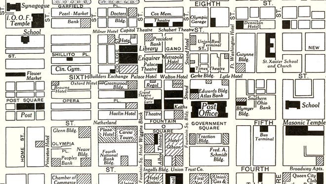 A map of Downtown Cincinnati from 1942 shows numerous theaters in the heart of the city.