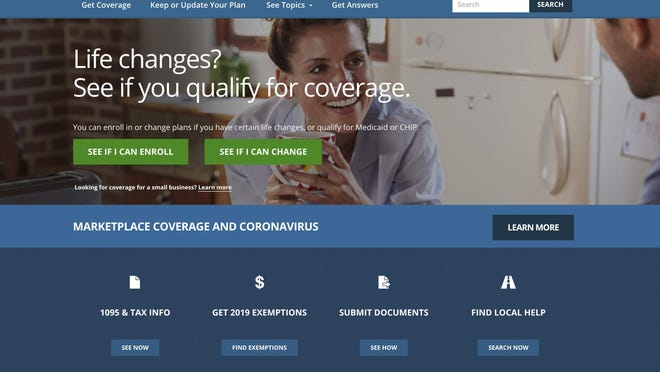 This file image provided by U.S. Centers for Medicare & Medicaid Service shows the website for HealthCare.gov. Close to half a million people who lost their health insurance amid the economic shutdown to slow the spread of COVID-19 have gotten coverage through HealthCare.gov, the government reported Thursday, June 25, 2020.