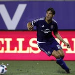 Aug 28, 2016; Orlando, FL, USA; Orlando City SC midfielder Kaka (10) shoots and scores on a penalty kick during the second half against the New York City FC at Camping World Stadium. Orlando City SC defeated the New York City FC 2-1. Mandatory Credit: Kim Klement-USA TODAY Sports