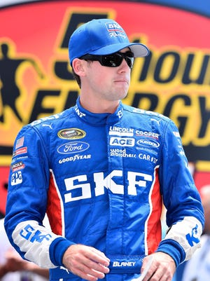 NASCAR Sprint Cup Series driver Ryan Blaney during driver introductions for the 5-Hour Energy 301 at New Hampshire Motor Speedway.