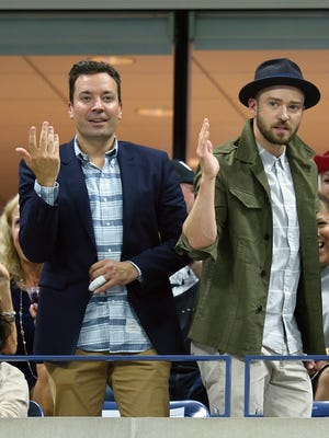 Jimmy Fallon, left, and Justin Timberlake dance during a break in the match between Richard Gasquet of France and Roger Federer of Switzerland during their 2015 US Open men's singles quarterfinals match at the USTA Billie Jean King National Tennis Center Sept. 9, 2015, in New York.