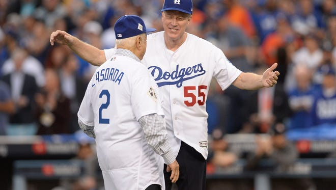 Game 6 at Dodger Stadium: Tommy Lasorda and Orel Hershiser throw out the first pitch.