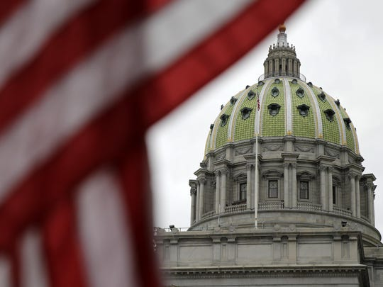 FILE - This Wednesday, Oct. 7, 2015, file photo shows the Pennsylvania Capitol building in Harrisburg. (AP Photo/Matt Rourke)
