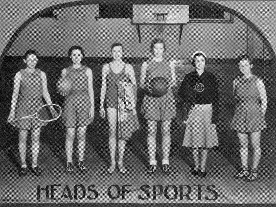 Heads of sports for the Girl's Athletic Association pose in 1932. The association sponsored tumbling programs, swimming, skating, hiking, basketball, volleyball, tennis and kittenball meets.