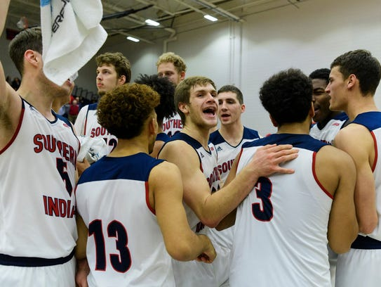 The USI Screaming Eagles celebrate their win against