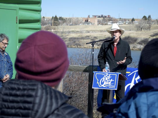 Rob Quist speaks at a public lands rally in Great Falls.