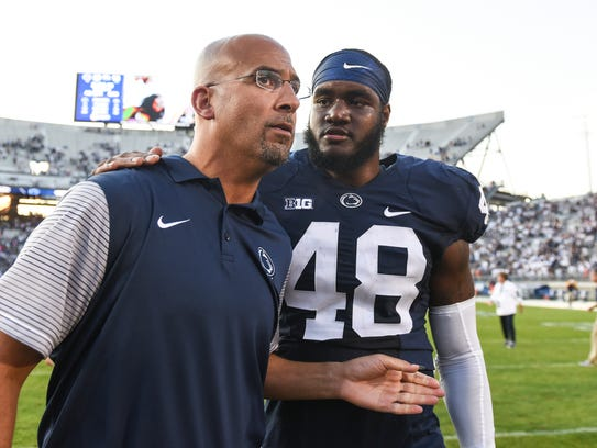 Sophomore defensive end Shareef Miller has won over Nittany Lions head coach James Franklin, even more for his transformation off the field. Here, the two talk after Penn State defeated Akron in last year's home opener.