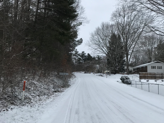 Weston Road was snow-covered in southern Buncombe County