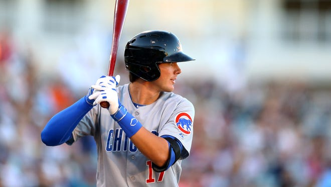 Kris Bryant, shown during the Fall Stars Game at Surprise Stadium last year in Arizona, went 3-for-4 for Iowa Friday night in a loss to Oklahoma City.
