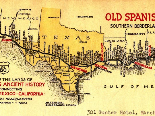 OST map color. The Old Spanish Trail was one of the nation's first named highways. It opened in 1929 from St. Augustine to San Diego, passing through 67 counties in eight states. Today, U.S. highways 90 and 80 trace the original route.