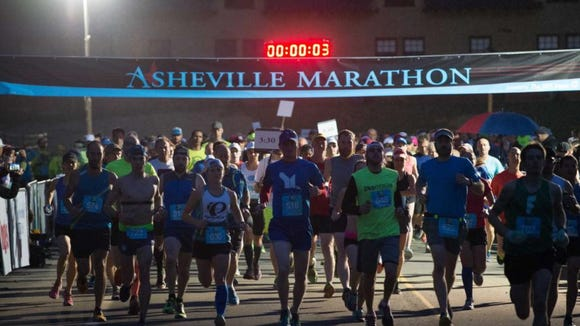 Close to 500 runners start in the fourth annual Asheville Marathon at Biltmore Estate on Sunday, March 13.