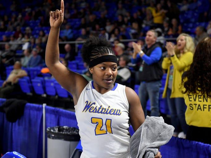 Westview's Tasia Jones celebrates her team's win over