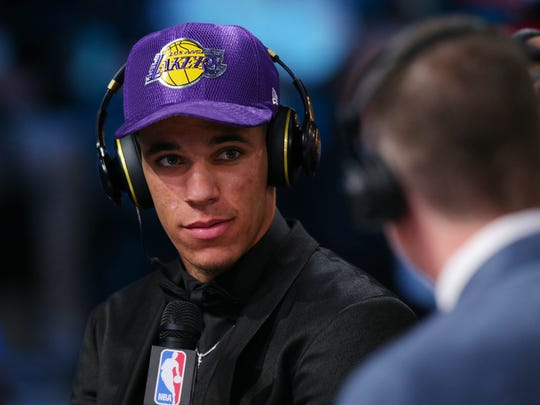 Jun 22, 2017; Brooklyn, NY, USA; Lonzo Ball (UCLA) is interviewed after being introduced as the number two overall pick to the Los Angeles Lakers in the first round of the 2017 NBA Draft at Barclays Center. Mandatory Credit: Brad Penner-USA TODAY Sports