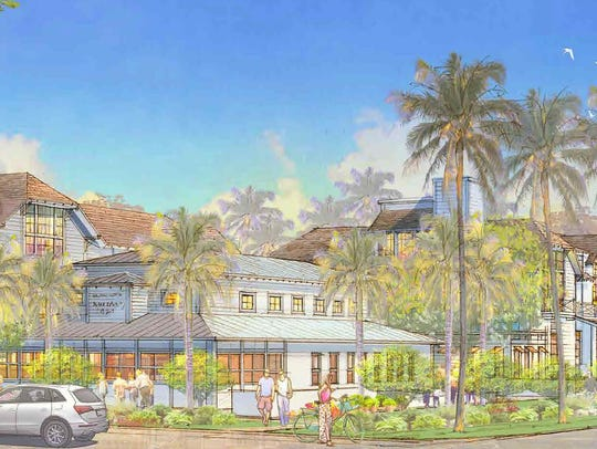 A building rendering shows a proposed three-story hotel