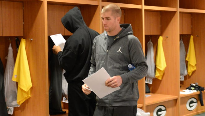 Green Bay Packers wide receiver Jordy Nelson walks through the locker room at Lambeau Field on  Monday.