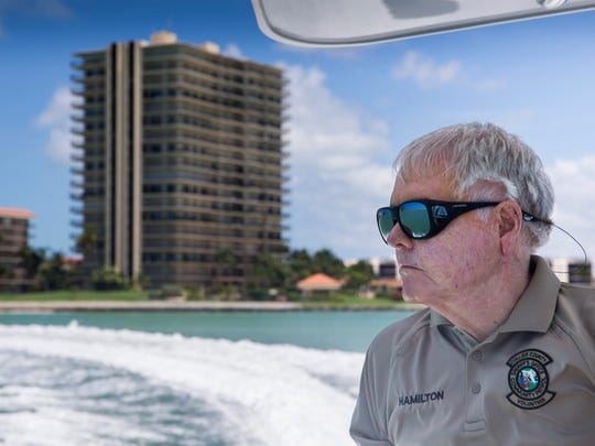 Don Hamilton, 75, looks out over the Gulf of Mexico near Marco Island while volunteering for the CCSO Marine Bureau on Monday, May 22, 2017. Hamilton, a Marine Corps veteran, has been volunteering with the bureau once a week for the past three months.