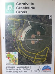 A map of Coralville's new Creekside Cross cyclocross