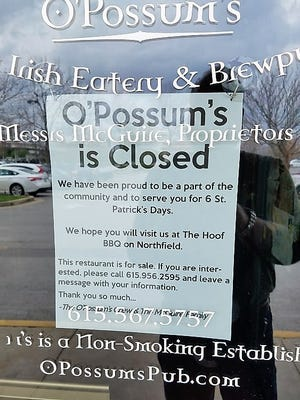 After six St. Patrick's Days, O'Possum's Irish Pub closed its doors. The family-owned business has another restaurant, The Hoof, and energy will be concentrated into keeping that open.