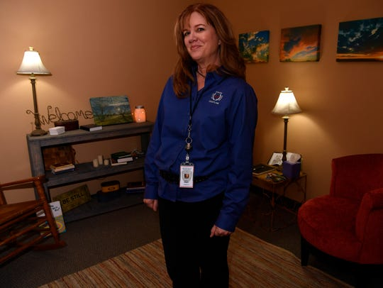Beth Reeves stands the quiet room she created in the basement of the Abilene Police Department. Reeves became the new full-time chaplain for APD in 2018.
