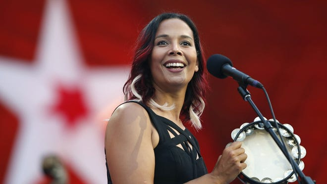 Rhiannon Giddens performs during rehearsal for the Boston Pops Fireworks Spectacular in Boston in 2018. The Grammy-winning musician is Silkroad's new artistic director, taking the baton from renowned cellist Yo-Yo Ma, who founded the group two decades ago. The North Carolina native is the first woman and first multiracial artist to lead the Boston-based organization.