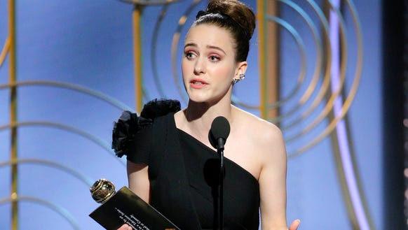 Rachel Brosnahan accepts her Golden Globe for best