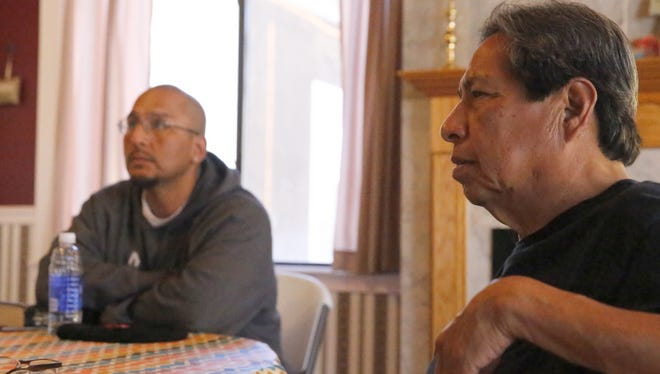 Noel Lyn Smith/The Daily Times Victory Life Church Pastor Robert Tso, right, and Kirtland resident Elliott Charley talk about the need for services on the Navajo Nation to address methamphetamine abuse during an interview Thursday at the Victory Life Church in Shiprock.