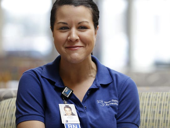 Registered nurse Amber Burleson works with Goodwill's