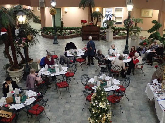The Rainbow Garden Club held a luncheon in the atrium