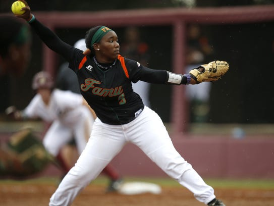 FAMU's Kenya Pereira pitches during during the Rattlers'