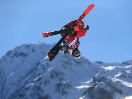 Nick Goepper makes a jump in February 2014.