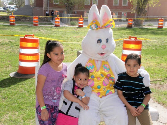 Families took photos of their children with the Easter