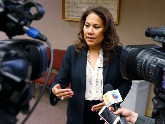 Veronica Escobar stands outside the 205th District