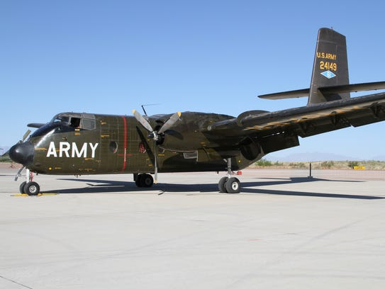 A C-7 Caribou cargo plane sits on display at Holloman