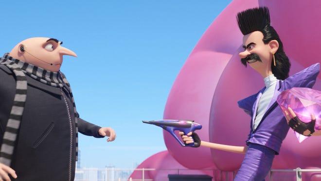 "Gru (Steve Carell) faces off against Balthazar Bratt (Trey Parker) in ""Despicable Me 3."""