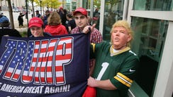 Donald Trump supporters Nick Hallmark (from left) of