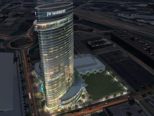 A rendering of the 33-story JW Marriott Nashville hotel.