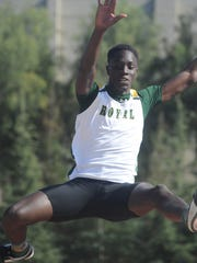 Adam Fall of Royal competes in the boys long jump at the Ventura County Track and Field Championships on Friday at Moorpark High.