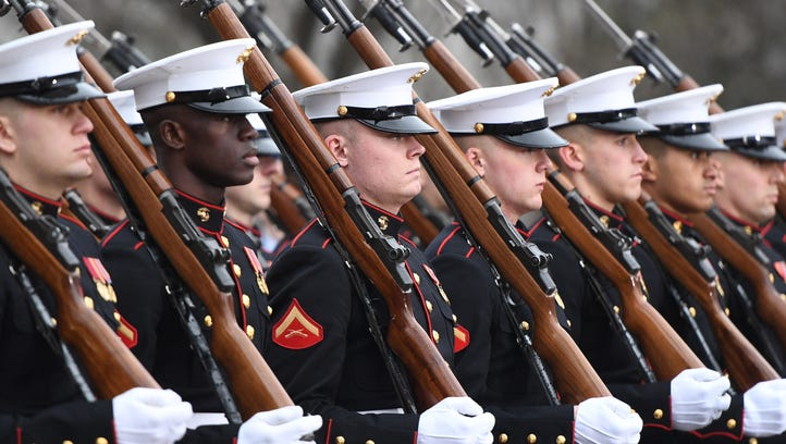 Members of the United States Marine Corps march in the inaugural parade. (An earlier version of this photo caption misidentified the service branch of the Marines pictured.)