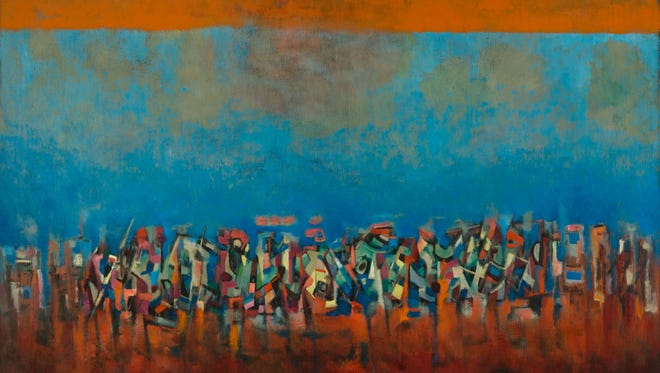 This work, title unknown, is referred to as 'March on Washington.' It is Norman Lewis and was created in 1965 in oils on fiberboard.
