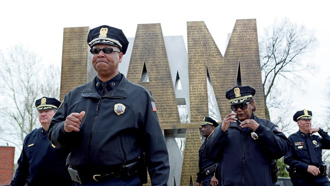 Memphis Police Director Michael Rallings, shown here at the opening of the I Am A Man Plaza, testified Tuesday in the trial about MPD surveillance of activists.