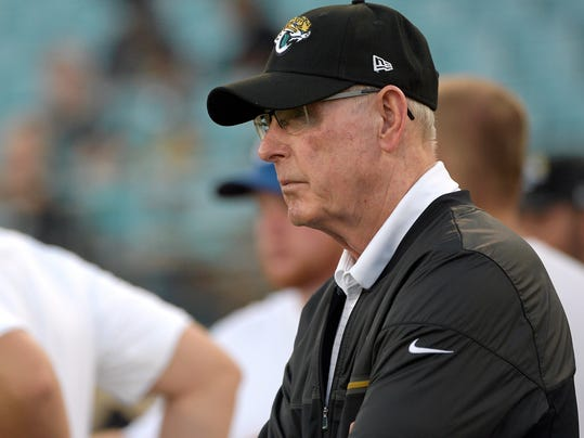FILE - In this Aug. 17, 2017, file photo, Tom Coughlin, Jacksonville Jaguars executive vice president of football operations, right, watches from the sideline during warmups before an NFL preseason football game against the Tampa Bay Buccaneers in Jacksonville, Fla. After making the AFC championship game in January, and leading New England by 10 points in the fourth quarter before losing 24-20,  the Jaguars will be a popular pick to win their division and make another run to the Super Bowl. (AP Photo/Phelan M. Ebenhack, File)