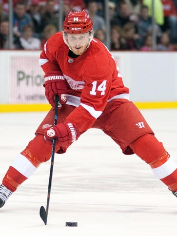 Detroit Red Wings forward Gustav Nyquist has six power-play