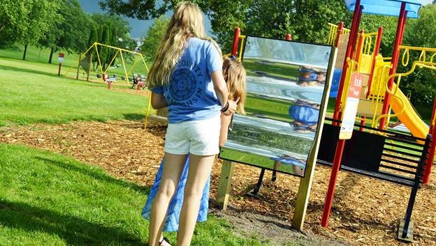 A funhouse mirror at the new Born Living Trail at Oschwald Park in St. Nazianz.