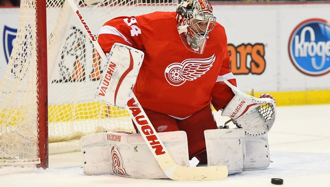Detroit Red Wings goalie Petr Mrazek makes a save against the San Jose Sharks during the second period at Joe Louis Arena Thursday. Mrazek will start Saturday against the Tampa Bay Lightning.