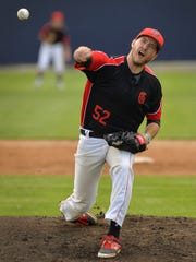 St. Augusta's Travis Laudenbach (52) pitches against the Kimball Express in the first inning Sunday, May 29, in Kimball.