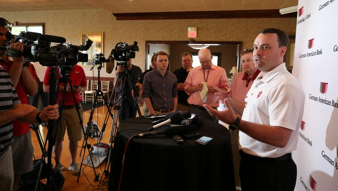 IU Head Basketball Coach Archie Miller spoke to the media before a fan event at HuberÕs Orchard, Winery and Vineyards in Borden, Indiana.May 30, 2018