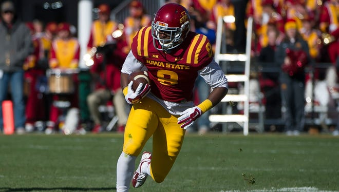 Iowa State wide receiver D'Vario Montgomery could potentially be looked to as a fill-in for tight end E.J. Bibbs.