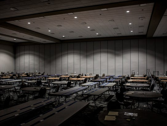 Dozens of tables have been set up in preparation for