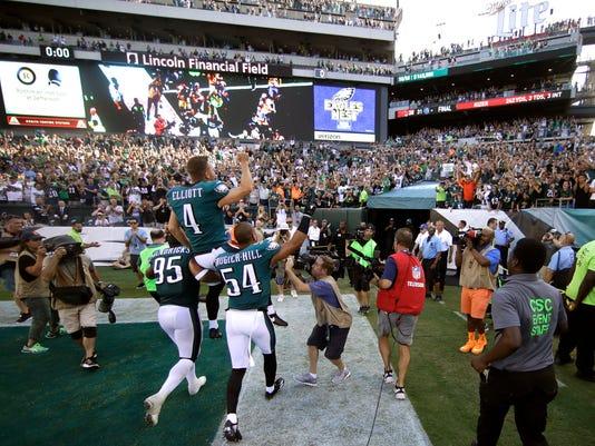 Philadelphia Eagles' Jake Elliott is carried off the field after kicking the game-winning field goal during an NFL football game against the New York Giants, Sunday, Sept. 24, 2017, in Philadelphia. Philadelphia won 27-24. (AP Photo/Matt Rourke)