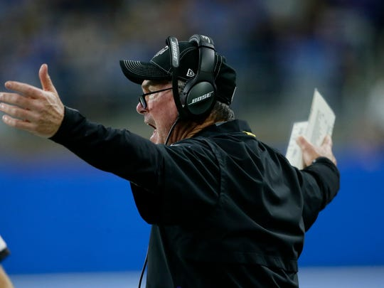 Minnesota Vikings head coach Mike Zimmer reacts on the sidelines after a call during the first half of an NFL football game against the Detroit Lions, Sunday, Oct. 20, 2019, in Detroit. (AP Photo/Duane Burleson)